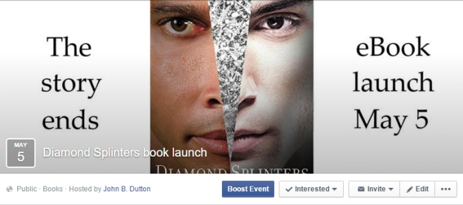 Diamond Splinters ebook launch Facebook event screenshot